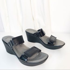 NAOT US 10 Wedge Sandal Black Silver Metallic